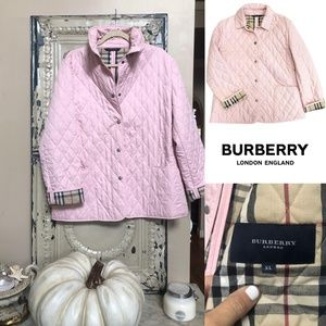 Burberry London Pink Quilted Snap Front Jacket